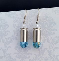Aqua Blue Bullet Earrings Bullet Earrings Aqua by blazingembers