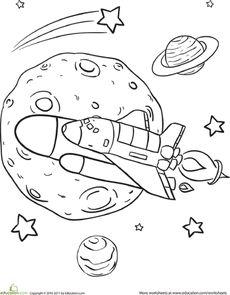 Rocket Ship Coloring Page Worksheet