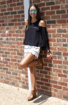 Lovers and Friends top and a great pair of lace shorts make the perfect going out outfit for these summer nights!