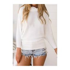 Batwing Sleeve Turtleneck Solid White Sweater (£22) ❤ liked on Polyvore featuring tops, sweaters, white, white long sleeve top, white long sleeve sweater, white pullover, long sleeve pullover sweater and sweater pullover