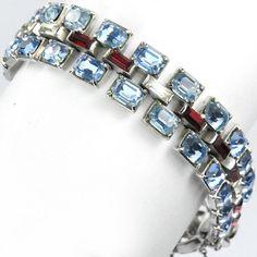 Trifari Philippe WW2 US Patriotic Red White & Blue Baguettes Bracelet