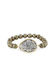 A rock crystal is set with cz pave and complemented by a stretchy natural pyrite stone bracelet. Adjusts to fit most wrists but best for small to medium wrists.  Rock Crystal Bracelet by Tai. Accessories - Jewelry - Bracelets Dallas Texas
