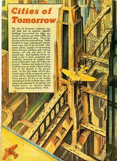 Cities of Tomorrow vintage illustration