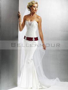 Robe de Mariée Sexy Blanc Rouge Plis Bustier Longue Traîne Courte