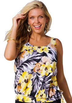 0efdfbc20d5 A bright and beautiful tankini top in a burst of tropical florals. scooped  neckline soft