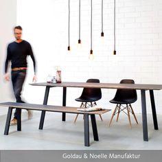 Esstisch JOONA mit Bank. Wir lieben Möbel mit Linoleumoberfläche! Die fühlen sich super an und sind gleichzeitig extrem…