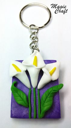 Keychain Calle Fimo calla lily keyring by MagieCraft on Etsy