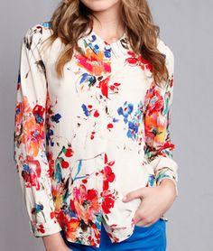 floral frenzy button down top