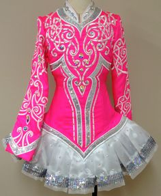 Prime Dress Designs: Irish Dance Solo Dress in Bright Pink with Silver and White Embroidery and Silver Skirt