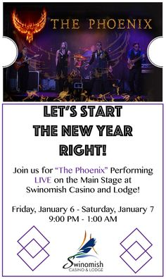 The Phoenix band is performing LIVE tonight and tomorrow on the Main Stage at Swinomish Casino and Lodge! For more information, check out here: http://www.swinomishcasinoandlodge.com/schedule/events-calendar