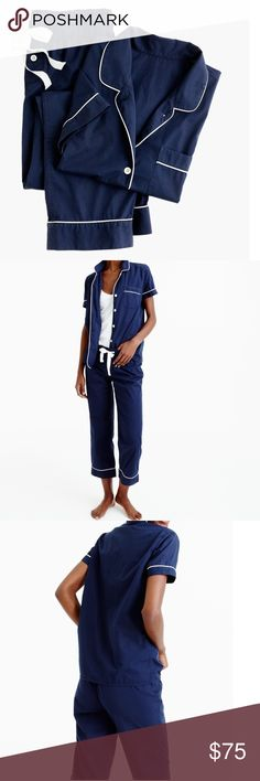 """NEW! Vintage J. Crew PJ's No more stealing his pajamas. Our take on the borrowed-from-the-boys classic is designed in crisp men's shirting cotton with an easy fit (read: it's the comfiest—and chicest—way to get your eight hours). And even though it's made for sleeping, we love the top layered over a tank and worn with jeans.  Cotton. Elastic waistband with drawstring on pant. Machine wash. Import. SIZE & FIT DETAILS size charts Top hits at hip. Cropped leg. 26 1/2"""" inseam. J. Crew Intimates…"""