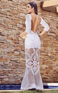 pineapple is my fave fruit Crochet Skirts, Crochet Clothes, Irish Crochet, Knit Crochet, Crochet Designs, Crochet Patterns, Boho Fashion, Fashion Dresses, Crochet Wedding Dresses