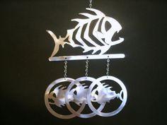 Fish Skeleton Windchime by TheMetalPeddler on Etsy