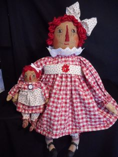 PATTERN, Primitive dolls, Raggedy Annie dolls by Dumplinragamuffin #Dumplinragamuffinmyself