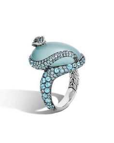 John Hardy Sterling Silver Legends Cobra Milky Aquamarine Ring with Swiss Blue Topaz and Diamonds Jewelry & Accessories - Fine Jewelry - Rings - Bloomingdale's Snake Jewelry, Jewelry Rings, Fine Jewelry, Women Jewelry, Animal Jewelry, Aquamarine Jewelry, Diamond Jewelry, Gemstone Jewelry, Gold Jewellery