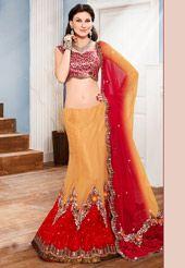 Light Golden Orange and Red Net Lehenga Choli with Dupatta