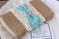 Deluxe Burlap, Cream Rose and Tiffany Blue Clutch/Diaper Wipes Case-Deluxe Burlap, Cream Rose and Tiffany Blue Clutch/Diaper Wipes Case