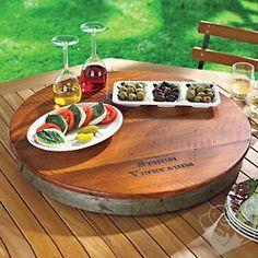 Personalized Raised Wine Barrel Lazy Susan at Wine Enthusiast - $129.95  #wineenthusiast