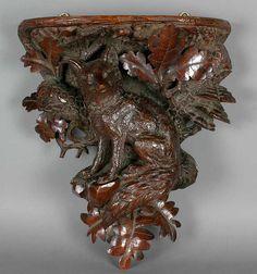 carved wood fox rack, brienz 1900