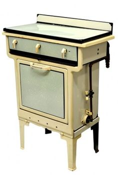 Small art deco enamel gas stove and oven