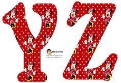 Alfabeto de Minnie Mouse en fondo rojo con lunares blancos. 2 versiones. | Oh my…