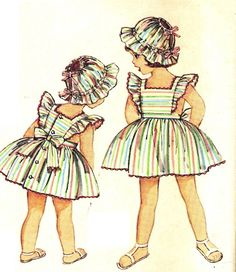 Simplicity 4413 UNCUT Vintage 50s Adorable Toddler Girls Dress, Pinafore  or Sundress, and Hat Sewing Pattern Size 3 Breast 22. $15.00, via Etsy.