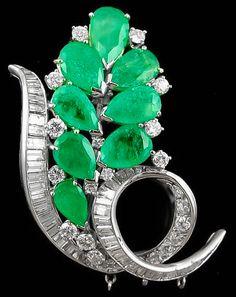 Platinum Diamond Emerald Brooch, circa 1960's.