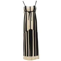1970s Pauline Trigere Black & White Abstract Stripe Silk Gown | From a collection of rare vintage evening dresses at https://www.1stdibs.com/fashion/clothing/evening-dresses/
