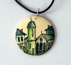 Wood pendant necklace hand painted green by archcessoires on Etsy, $15.00