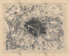 Vintage map of Paris Instant Download image printable от UnoPrint