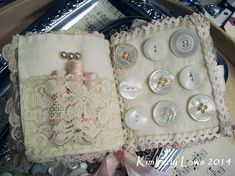 ~❧ needle book made from vintage fabric lace buttons & thread ❧♡° Fabric Art, Fabric Crafts, Sewing Crafts, Sewing Projects, Fabric Books, Sewing Kits, Sewing Box, Needle Case, Needle Book