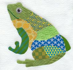 PATCHWORK FROG Machine Embroidery Quilt by AzEmbroideryBarn, $26.95