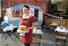A pop-up vintage tea-room housed in a refurbished caravan.   Sonja Sharkey, 34, from Woodville, runs Bluebelle Bakery...