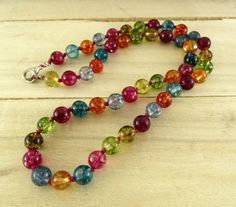 colorful necklace bright necklace rainbow by GemDesignStore