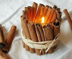 La #cannella come #decorazione per i tavoli #candele #centrotavola
