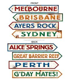 Complete your Australia Day decorations with these Australian sign cutouts featuring famous Aussie place names.
