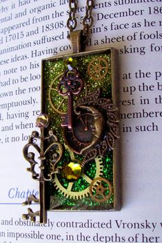 Steampunk Necklace N304  Brass Moon and Keys  by DesignsByFriston, $32.00