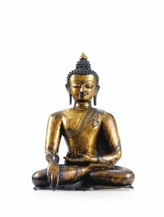 A fine and rare large gilt-bronze figure of Buddha Shakyamuni, Tibet, late 14th or early 15th Century. 65 cm, 25 1/2 in. Estimate: 200,000 – 300,000€. 2014 Sotheby's France Auction Estimate of US$300,000-406,000