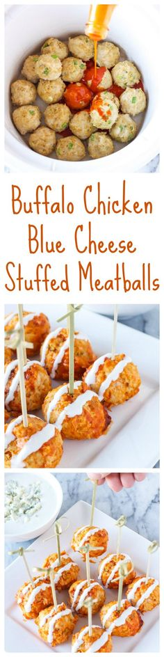Buffalo Chicken and Blue Cheese Stuffed Meatballs | These blue cheese stuffed meatballs are a healthier alternative to buffalo chicken wings, the perfect bite sized appetizer! | http://www.reciperunner.com