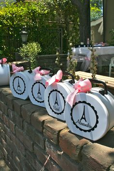 Pink Paris birthday party favors for your guests.