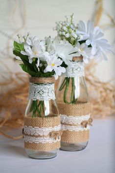 Rustic Wedding Centerpiece Vase Set, Burlap and Lace Mason Glass Vase, Country or Barn Wedding Decor Set of 2 or 4 Mason Vases ( 9 oz. and 13 oz ) decorated with burlap, twine and lace for the perfect Wedding Vase Centerpieces, Barn Wedding Decorations, Wedding Vases, Wedding Table, Wedding Rustic, Wedding Ceremony, Wedding Ideas For Tables, Centerpiece Decorations, Elegant Wedding