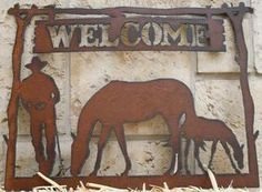 Welcome-Sign-Cowboy-Rustic-Metal-Sign-Western-Decor-Mare-Foal-Horses