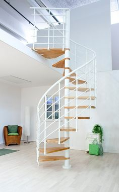 Dolle Oslo White Spiral Stair Kit -- Available in 3 diameters: 1200mm, 1400mm & 1600mm. Standard kit comes complete with 11 treads plus a landing tread to suit a floor height up to 2820mm. Heights up to 3760mm can be achieved with the use of additional tread kits. Unit has varnished beech treads, steel centre column and a fixed steel balustrade (white PVC handrail) positioned on the spiral's outer edge. All the metal-work is powder coated a white colour (RAL 9010). # From £1,175.00 + VAT