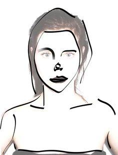 Illustration Portrait Julia Feller Black white photo foto
