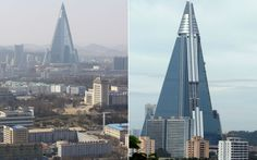 The 105-storey Ryugyong hotel in Pyongyang, North Korea. Designed by Baikdoosan Architects & Engineers. Construction began in 1987 and stopped between 1992 and 2008. Exterior work is now complete, but it is not known if it will ever open.
