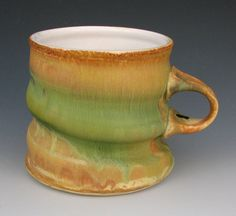 Coffee Cup 23 / Large Mug / Stoneware Mug / Gold by OffCenterClay, $16.00