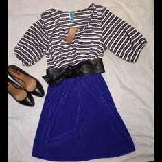 Striped Blouson-Sleeve Dress Striped Blouson-Sleeve Dress. 100% polyester. This dress is adorable! Dresses