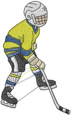 Hockey Man Embroidery Design | AnnTheGran