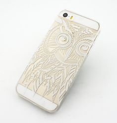 """Clear Plastic Case Cover for iPhone 6 (4.7"""") Henna Ethnic Owl mystic e – Milkyway"""