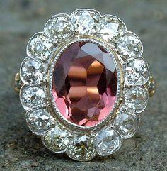 Antique gold, tourmaline and diamond ring, c1890
